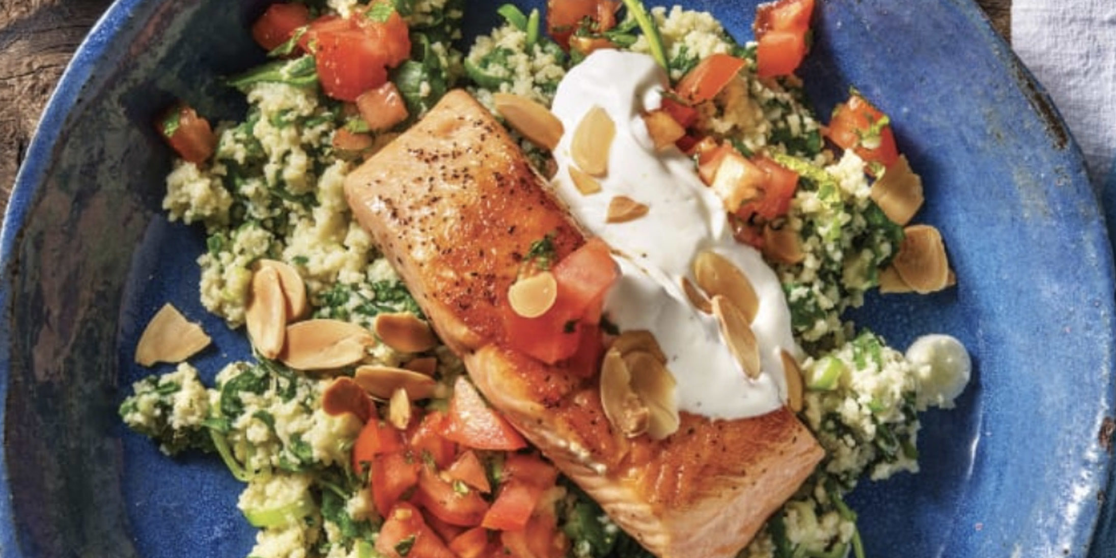 Seared Salmon & Herbed Couscous with Lemon Yoghurt & Toasted Almonds