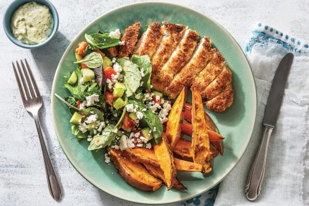 Lemony Crumbed Chicken with Pesto Dressing & Sweet Potato Wedges
