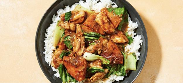 Lemongrass Chicken Stir-Fry with Pumpkin and Jasmine Rice