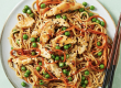 Sesame Chicken Noodles with Carrots and Peas