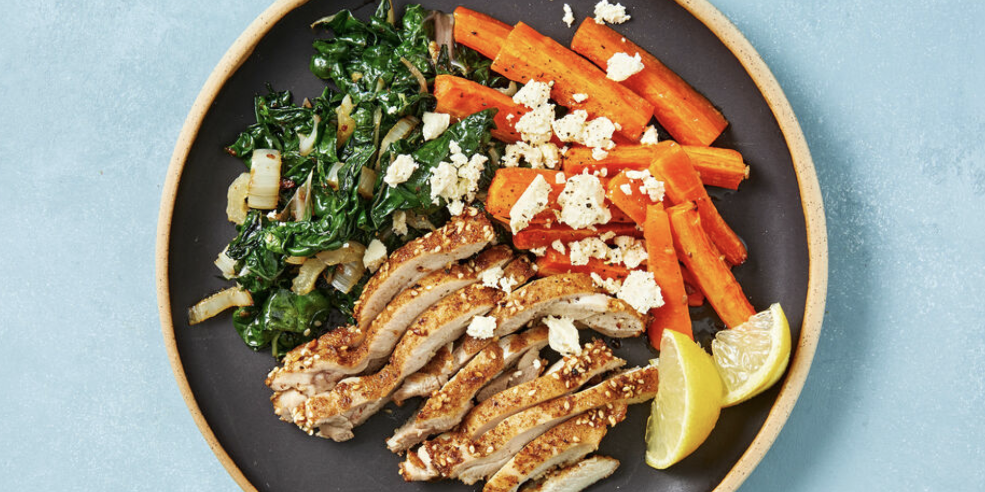 Reduced-Carb Dukkah Chicken with Lemony Silverbeet and Roast Carrots