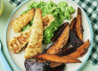 Baked Fish and Veggie Wedges with Mashed Peas